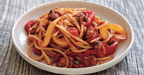Bucatini with Sausage and Peppers – Cut Calories Without Sacrificing Flavor