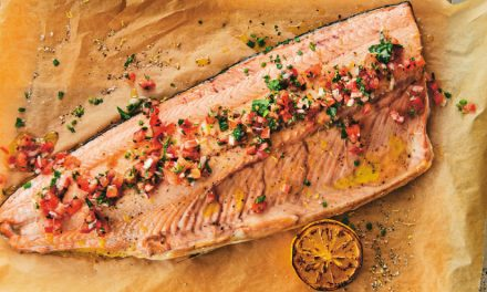 Wild Salmon Bake with Sauce Vierge is Sustainable, Light and Refreshing