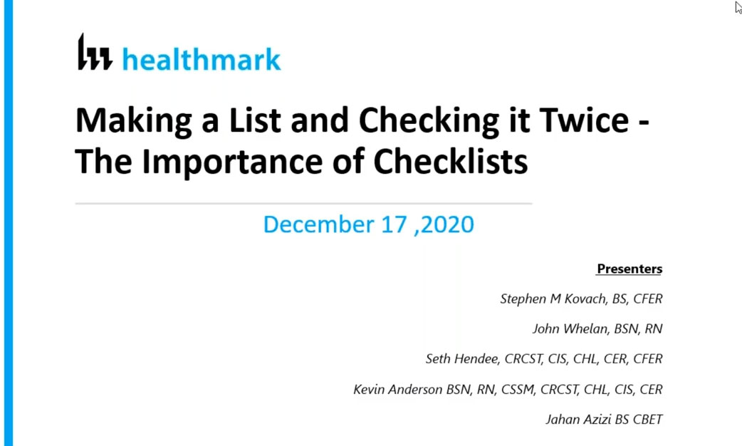 Webinar Addresses Importance of Checklists